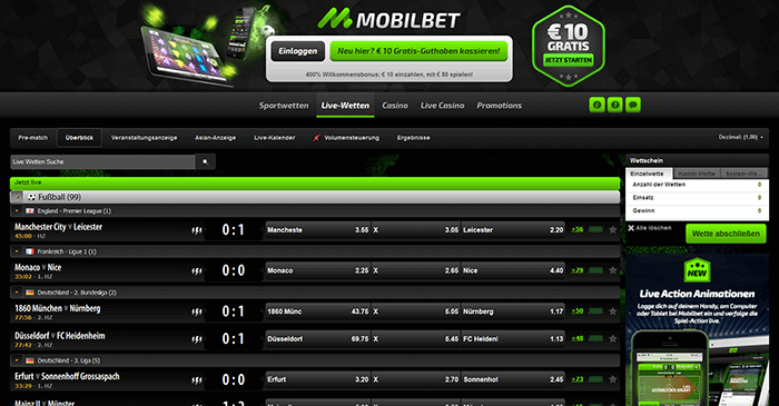 Screenshot mobilbet Livewetten