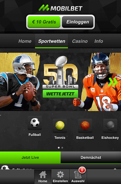 Screenshot mobilbet Handy